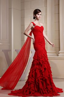 Sweetheart Ruched Chiffon Maxi Dress with Single Strap and Cascading Ruffles