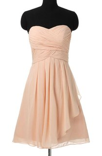 A-line Mini Strapped Sweetheart Chiffon Dress