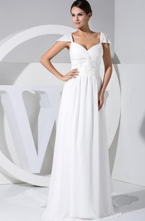 Caped-Sleeve Chiffon Criss-Cross Ruched Dress With Watteau Train