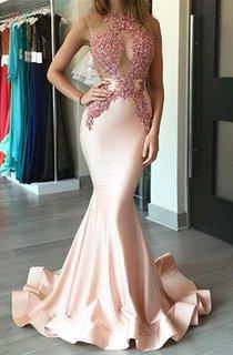 Illusion Lace Bodice Sleeveless Mermaid Satin Gown