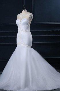 Mermaid Sweetheart Lace Satin Weddig Dress With Beading