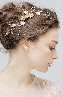 Aesthetic Delicate Gold Flower Rhinestone Crystal Pearl Manual Hair Comb