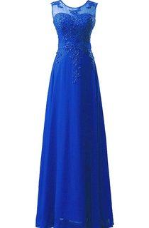 Amazing Sleeveless Chiffon Long Dress With Lace Applique