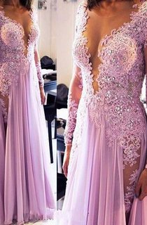 Sexy Lace Appliques Crystals 2016 Prom Dress V-neck Chiffon