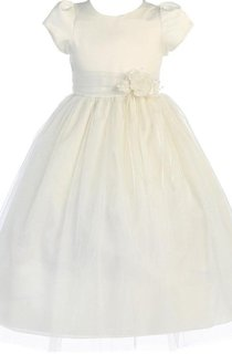 Short-sleeved A-line Pleated Dress With Flower and Bow