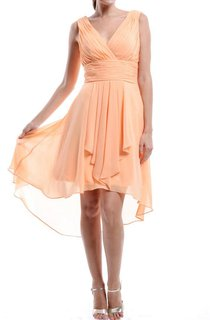 High-low Strapped V-neck Chiffon Dress