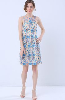 Printed Halter Neck Short Dress with Keyhole Back