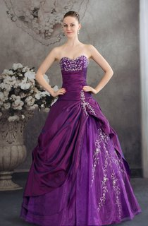 Sweetheart Satin Pick-Up Appliqued Gown with Stress and Embroideries