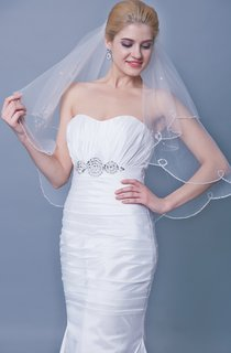 Sequined Two Tier Beaded Trim Mid Veil