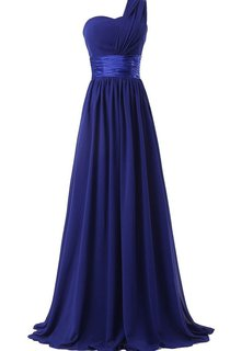 One-shoulder Long Pleated Chiffon Dress With Satin Sash