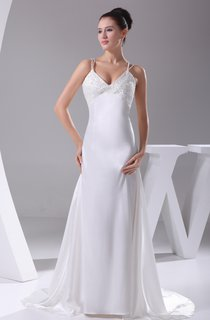 Beaded V-Neck Floor-Length Dress With Spaghetti Straps