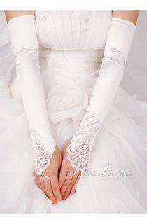 Plus Long White Beaded Satin Hook Elastic Satin Gloves