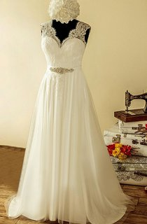Tulle Lace Satin Weddig Dress With Beading Sequins