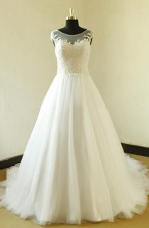 Bateau Neck Cap Sleeve Long A-Line Tulle Wedding Dress With Elegant Beading