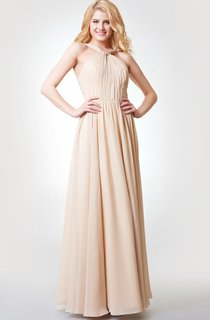 Sleeveless A-line Ruched Long Chiffon Dress With Pleats