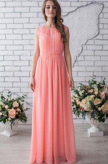 Pleated Scoop Sleeveless Chiffon Dress