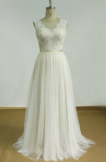 Backless Tulle Lace Satin Weddig Dress