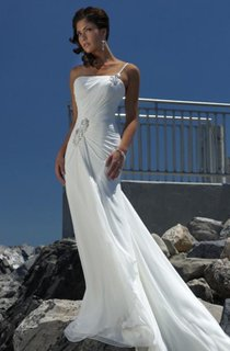 Sheath Column Empire One Shoulder Chiffon Beach Wedding Dress