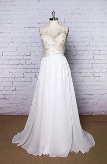 V-Neck Sleeveless Chiffon Wedding Dress With Golden Lace Bodice