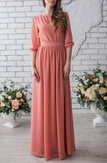 Occasion Long Chiffon Peach Wedding Mother Of The Bride With Sleeve Dress