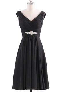 V-neckline Pleated Basque Waist Dress With Crystal
