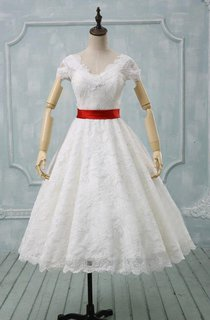 Scalloped Tea-Length Wedding Dress With Sash And Cap Sleeve