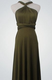 A-line Floor-length Dress With Cross Back Straps and Ruching