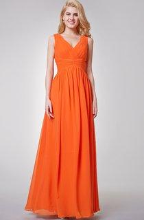Empire Ruched Long Chiffon Bridesmaid Dress