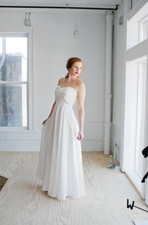 Sweetheart Long Chiffon Wedding Dress With Bow And Empire Waist