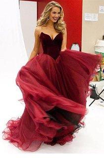 Modern Organza Burgundy Princess Evening Dress 2016 Sleeveless Sweetheart