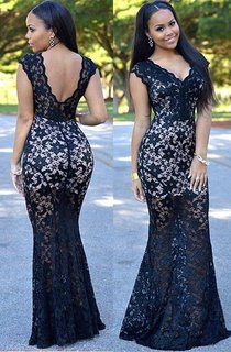 Sexy Black Lace V-Neck Prom Dresses 2-16 Mermaid Long Party Gowns