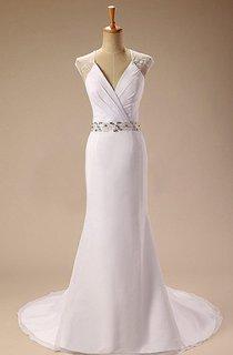 V-Neck Cap Illusion Back Sheath Satin Wedding Dress With Sash And Beading