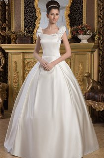 Caped-Sleeve Satin A-Line Ball Gown with Epaulet