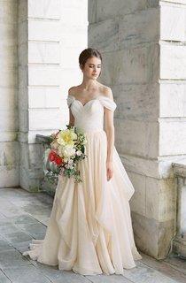 Off-The-Shoulder Drped Floor-Length Criss Cross Dress