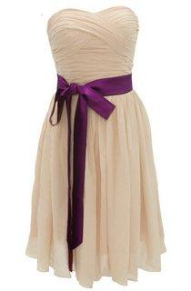 Sweetheart Mini Chiffon Dress With Sash Waist