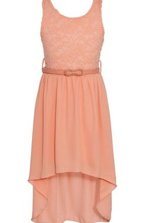 Sleeveless High-low Dress With Lace Bodice and Belt