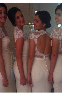Newest Open Back Lace Mermaid Prom Dress Long Open Back Bridesmaid Dress 2016