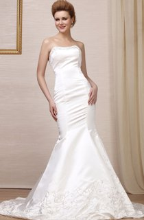Strapless Mermaid Satin Gown With Embroideries