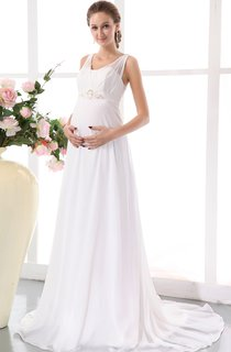 Soft Flowing Chiffon Maternity Empire Gown With Beading