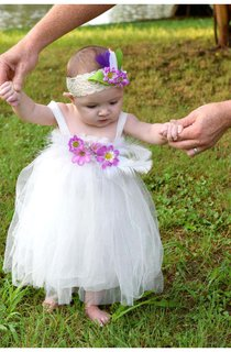 White Feathers and Flowers Tulle Baby Girl Dress With Pleated