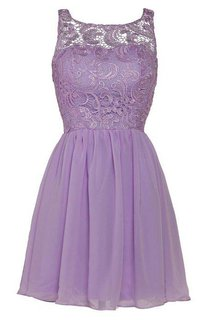 Lovely Illusion Sleeveless Chiffon Short Cocktail Dress With Lace