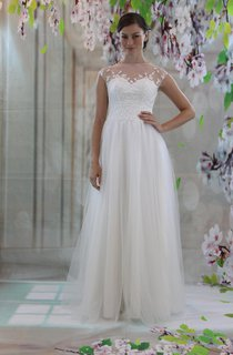 Illusion High Neck Cap Sleeve A-Line Tulle Wedding Dress With Lace Bodice