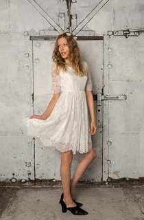 French Lace Short A-Line Wedding Dress With Short Sleeves