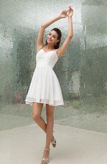 Simple Sleeveless Chiffon Mini Dress With Spaghetti Straps