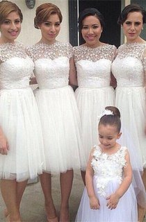 Romantic White Tulle Lace Bridesmaid Dress 2016 Short Sleeve