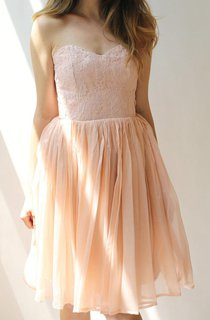 Short Pink Chiffon And Lace Dress