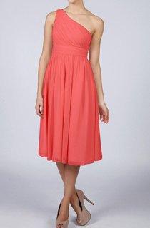 Coral One-shoulder Short Bridesmaid Dress