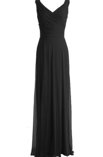 V-neckline Floor-length Dress With Zipper Back