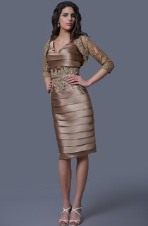 Brilliant Sleeveless Tiered Ruched Skirt With Illusion Lace Jacket