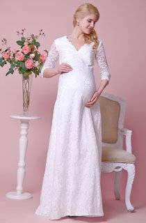 Allover Lace V-neck Floor Length Dress With 3 4 Sleeves